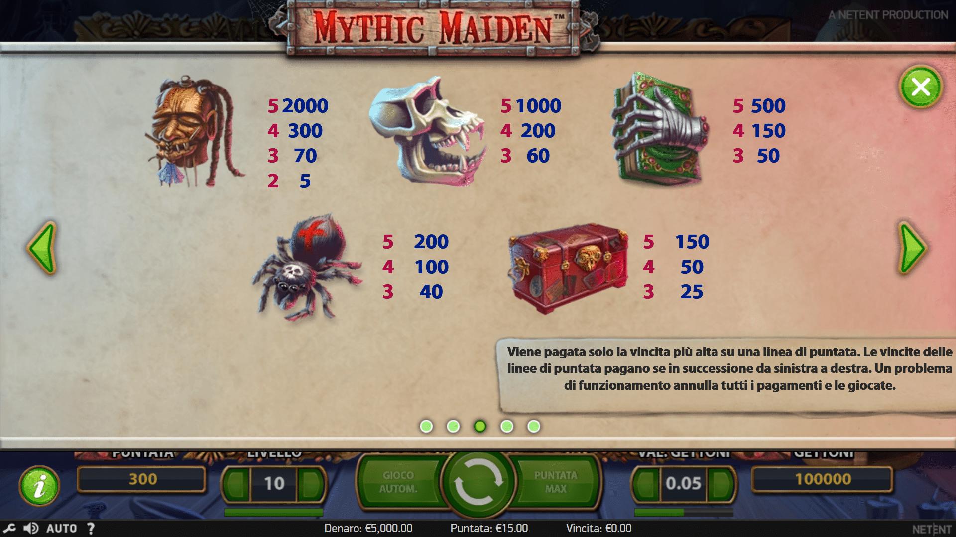 Simboli slot Mythic Maiden