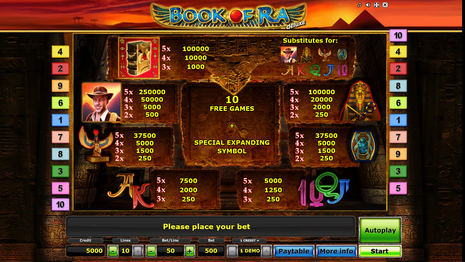 Tabella dei Pagamenti della Slot Book Of Ra Deluxe