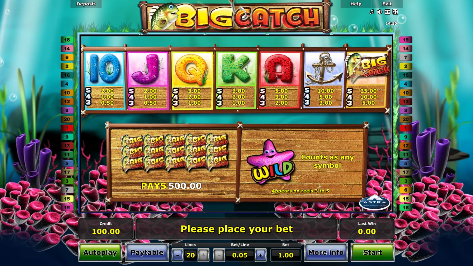 Tabella dei Pagamenti della slot gratis Big Catch
