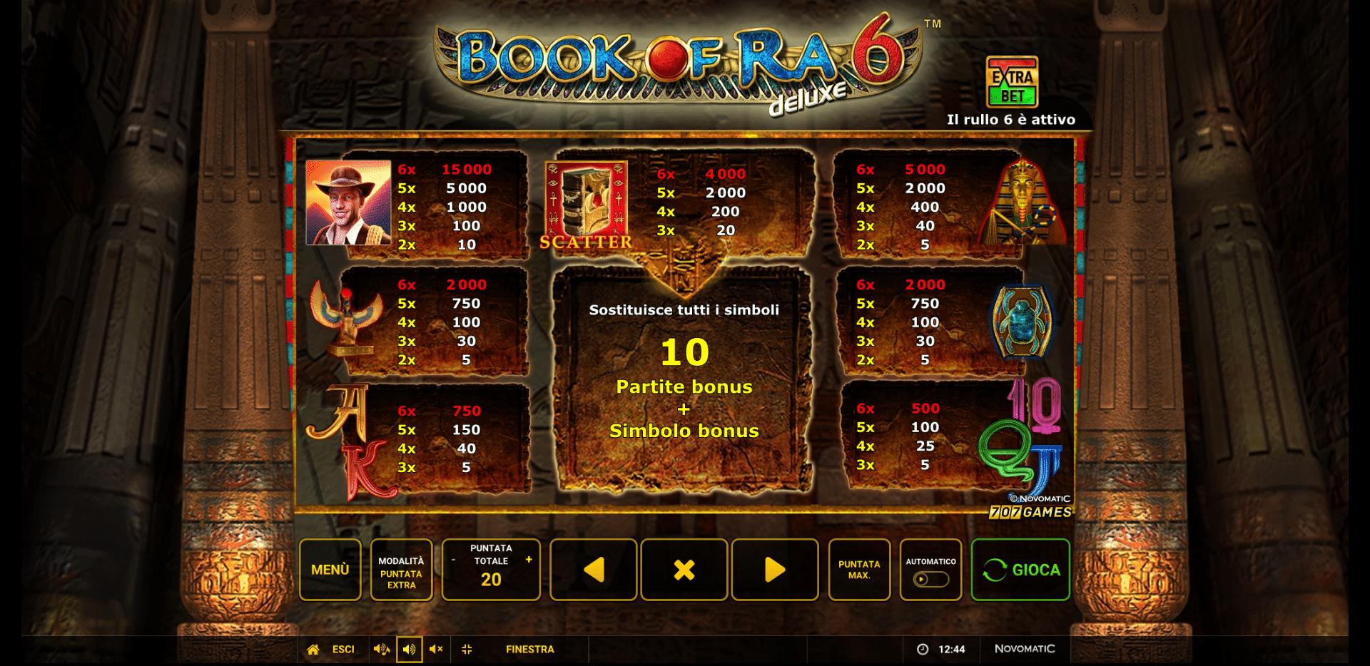 Tabella Pagamenti Slot Gratis Book Of Ra 6