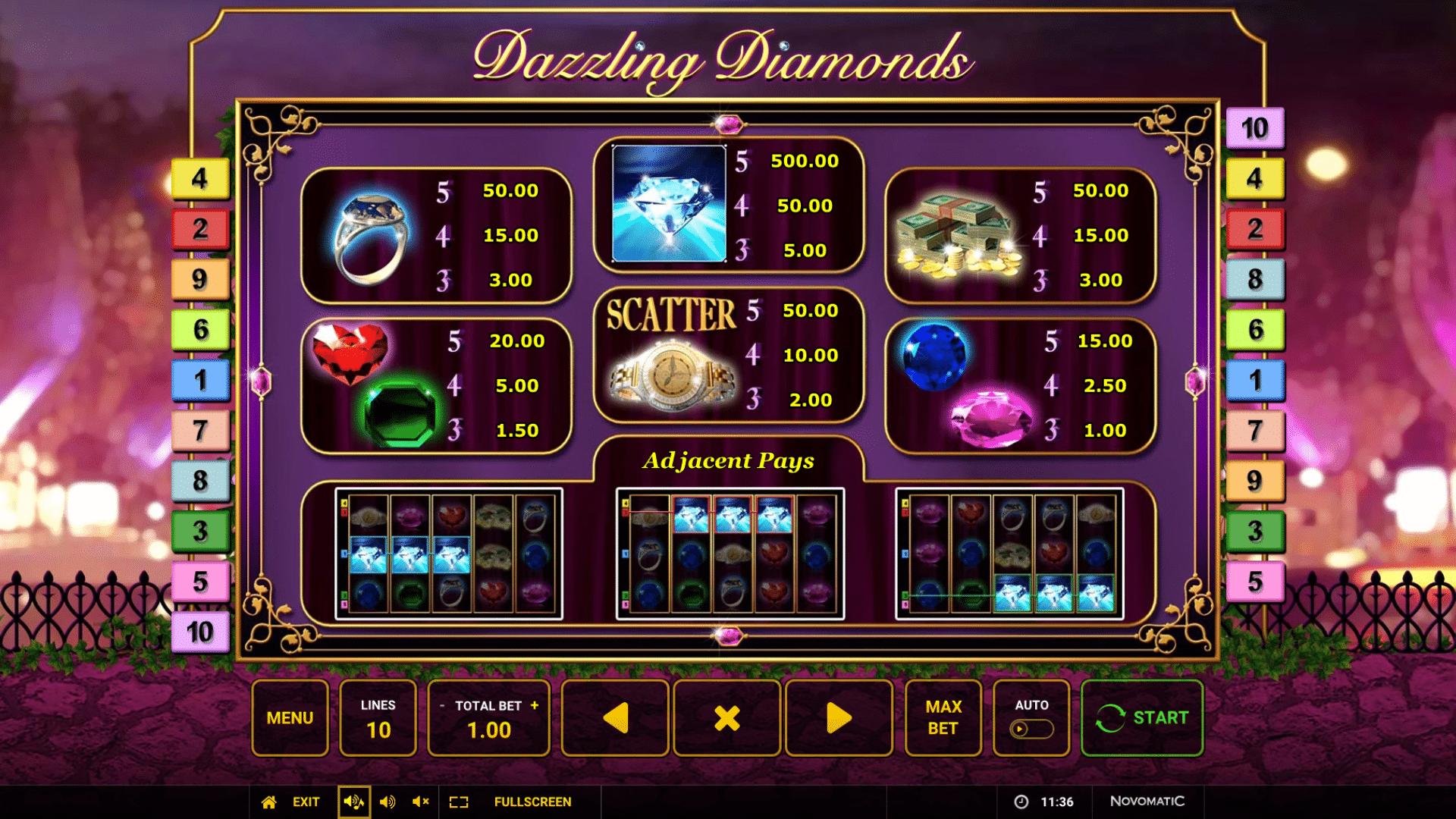 La tabella dei pagamenti della slot Dazzling Diamonds