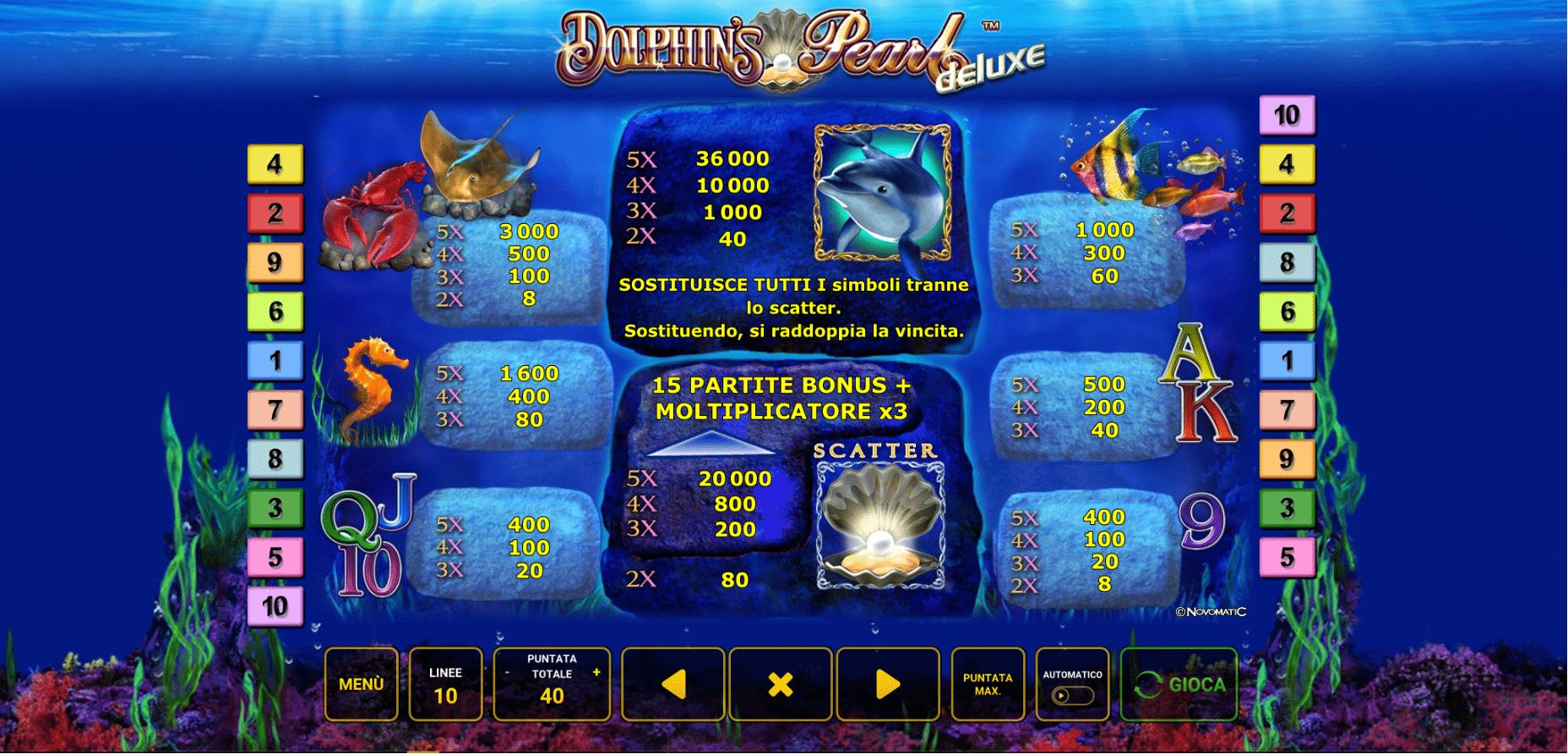 Simboli e combinazioni della slot Dolphin's Pearl Deluxe
