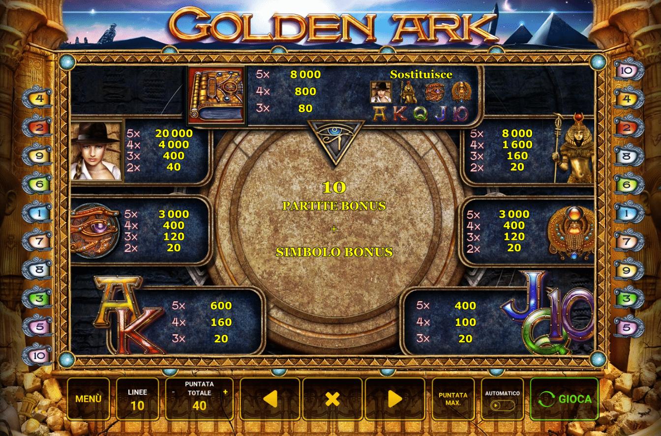 Simboli e Pagamenti della slot gratis Golden Ark