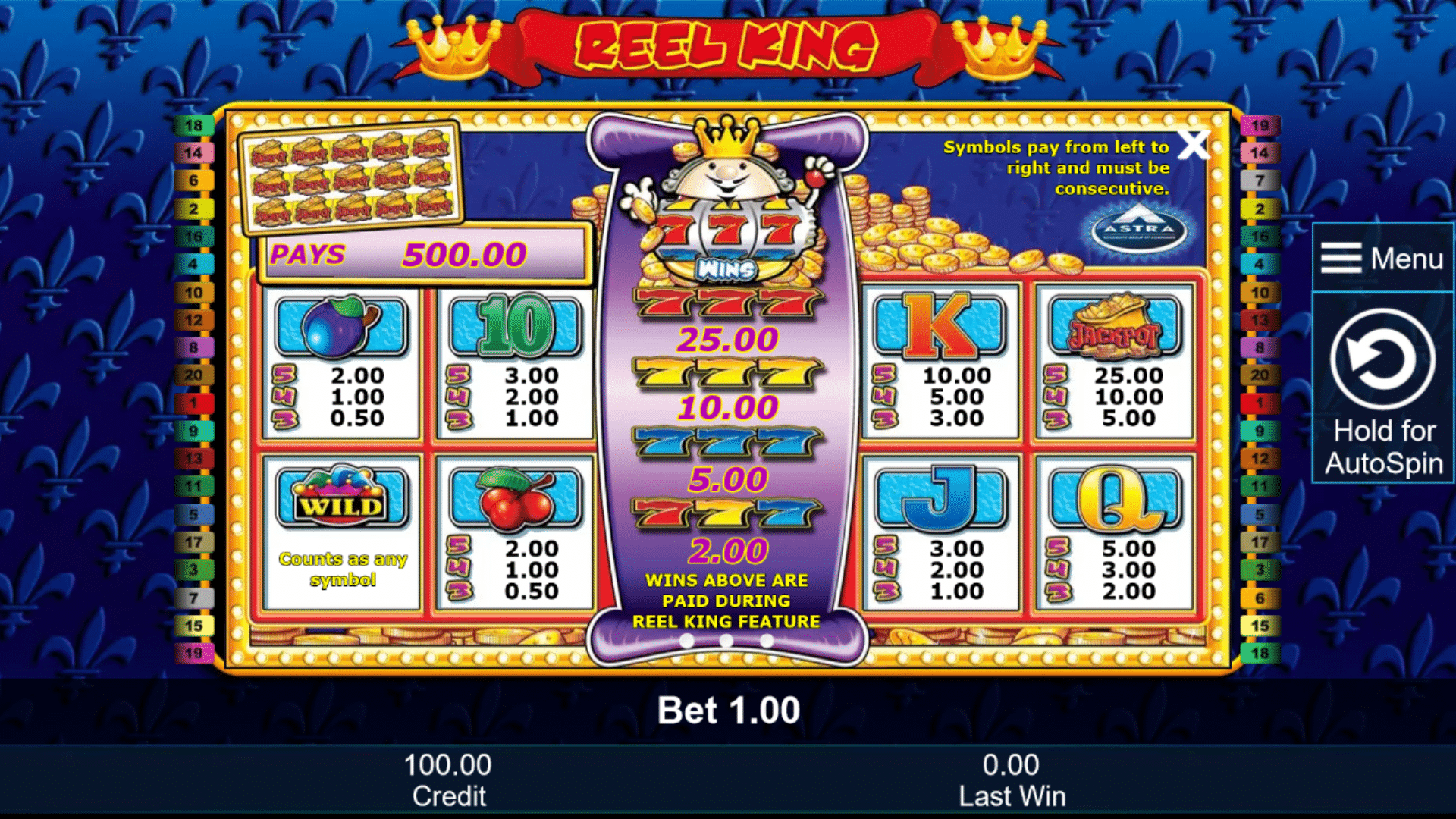 Tabella Pagamenti della slot gratis Reel King