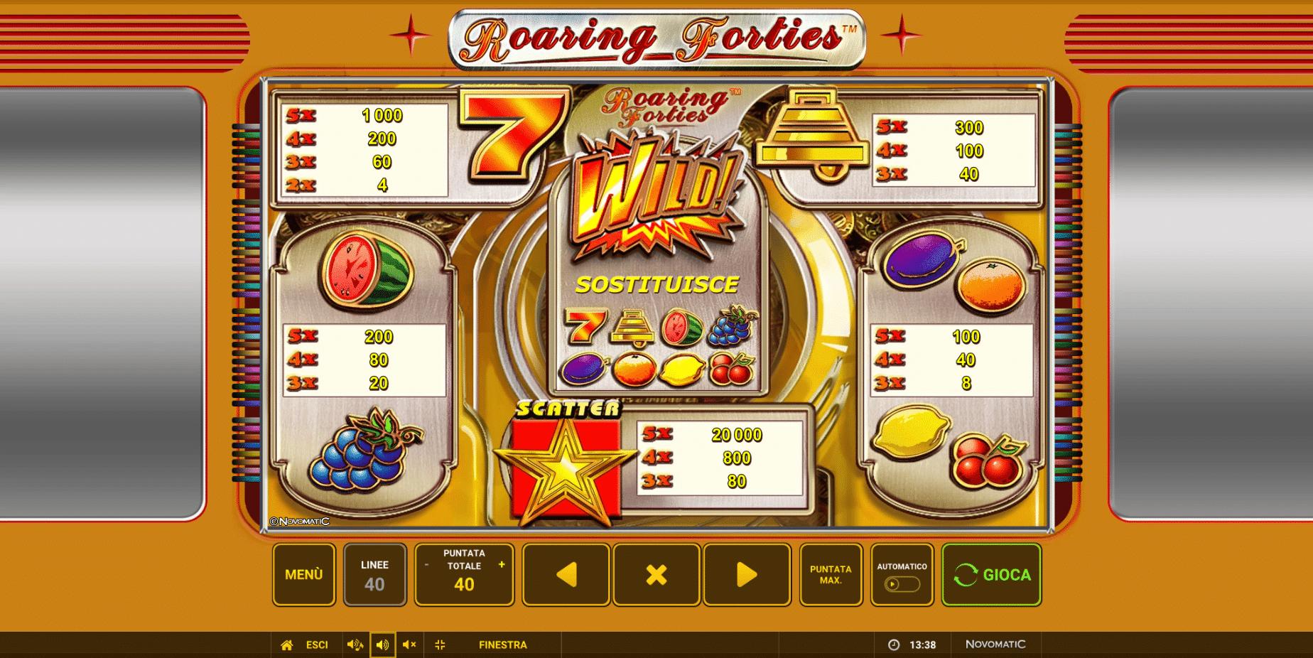 Tabella dei Pagamenti della slot gratis Roargin Forties