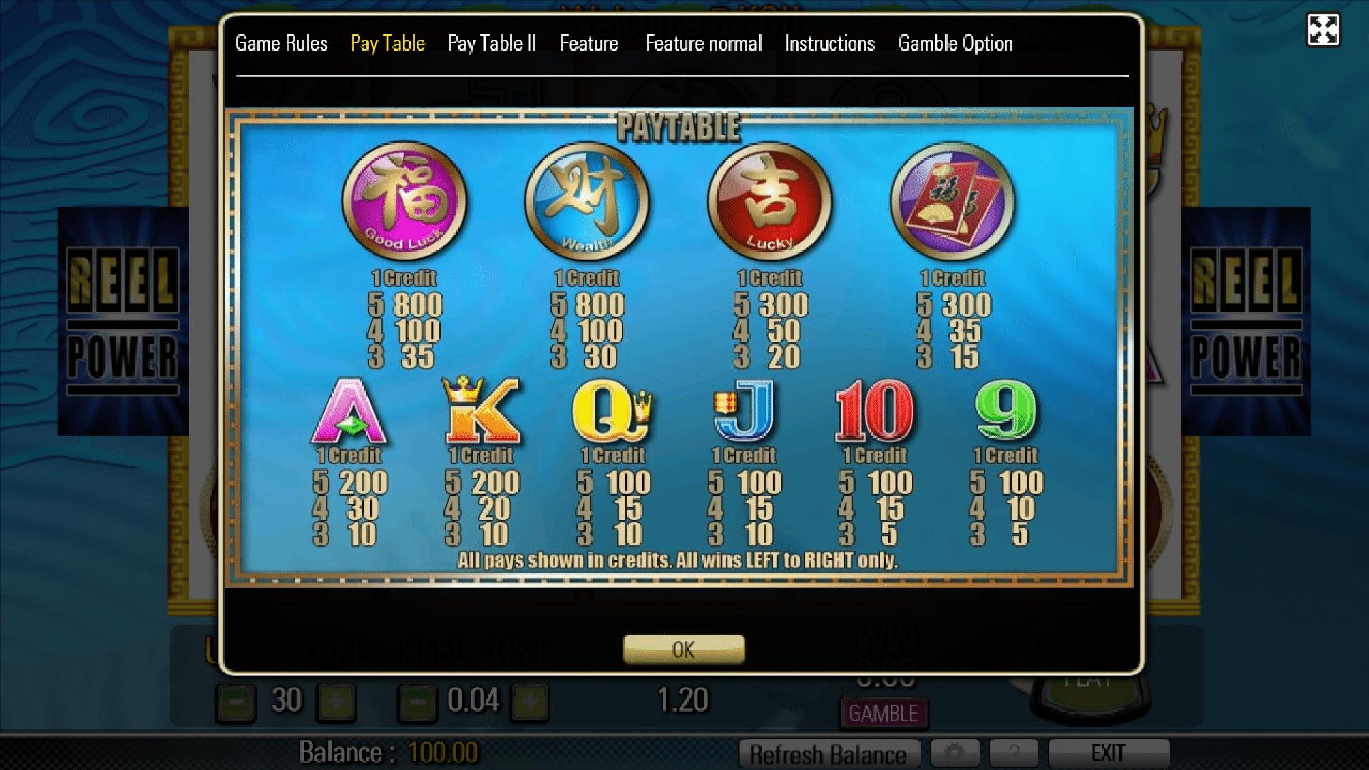 Paytable della slot gratis 5 Koi