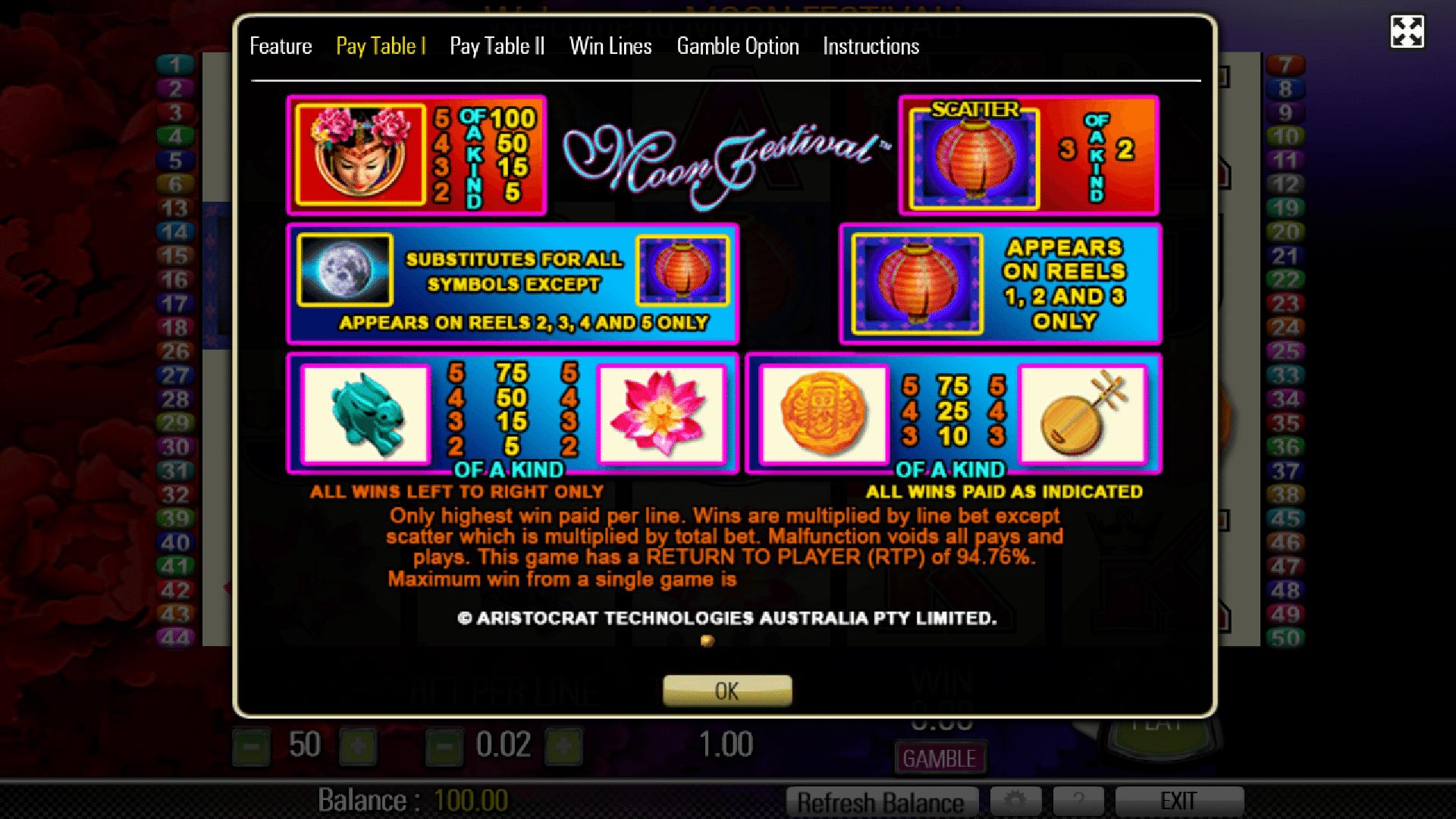 Tabella Pagamenti della Slot gratis Moon Festival