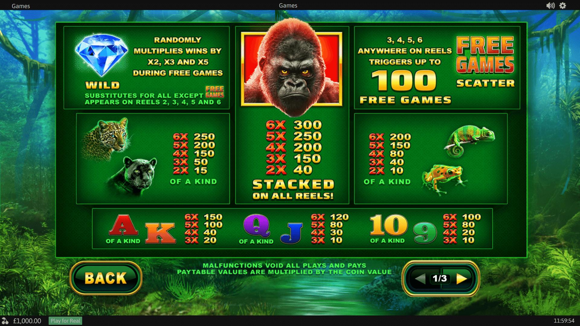 Paytable Slot gratis Epic Ape