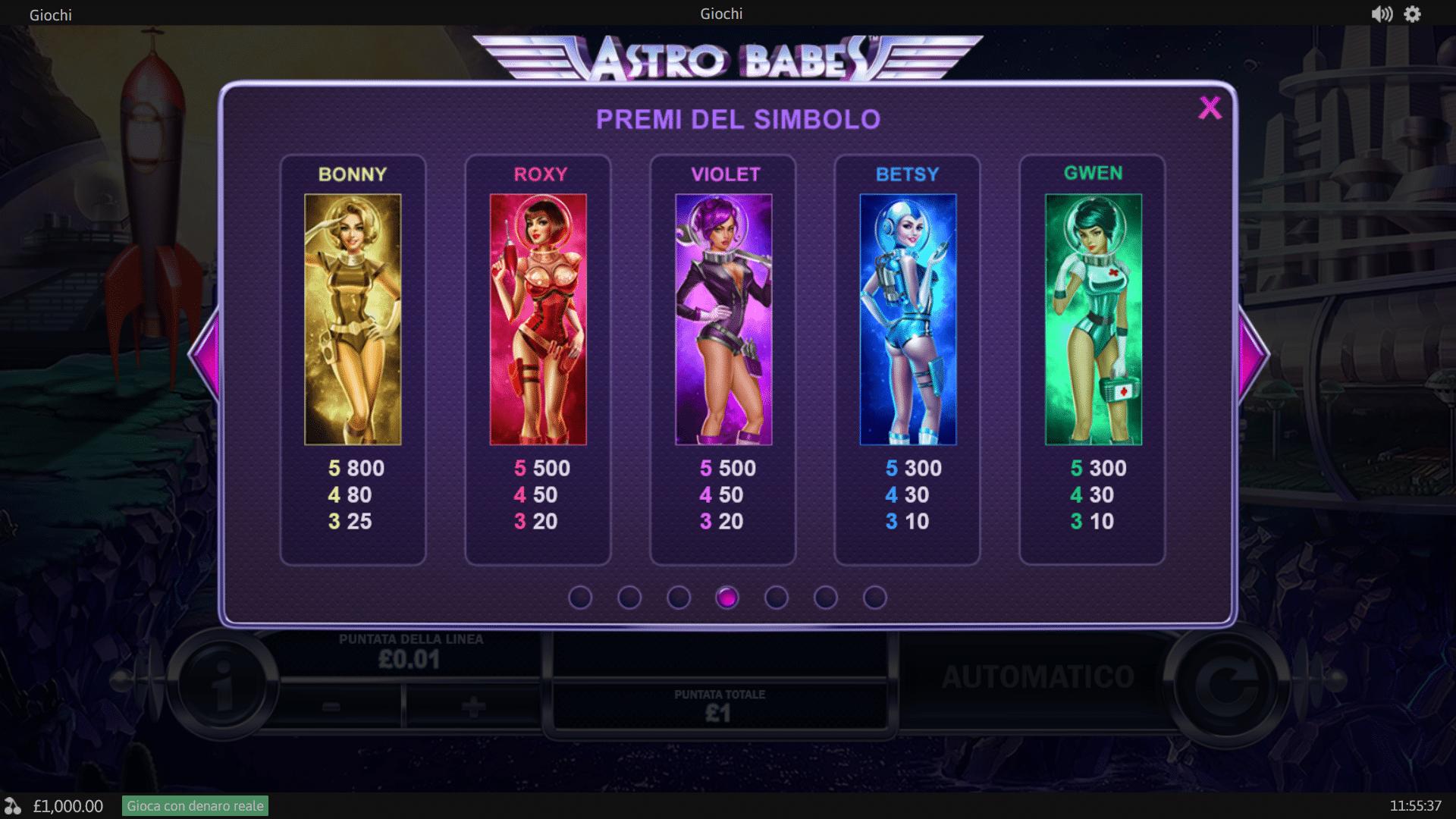 Tabella Pagamenti della Slot gratis Astro Babes