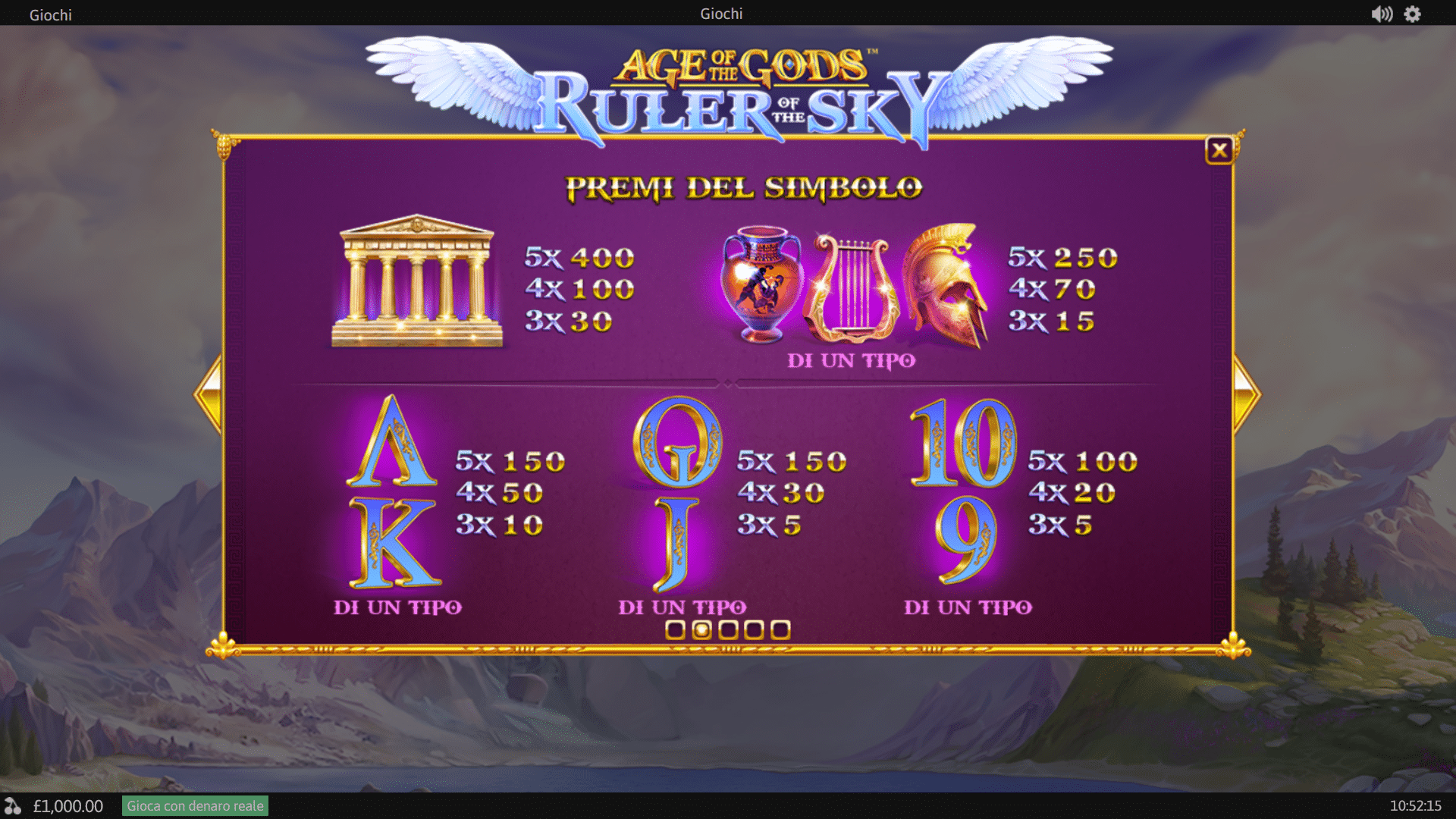 Paytable della Slot gratis Age of the Gods: Ruler of the Sky