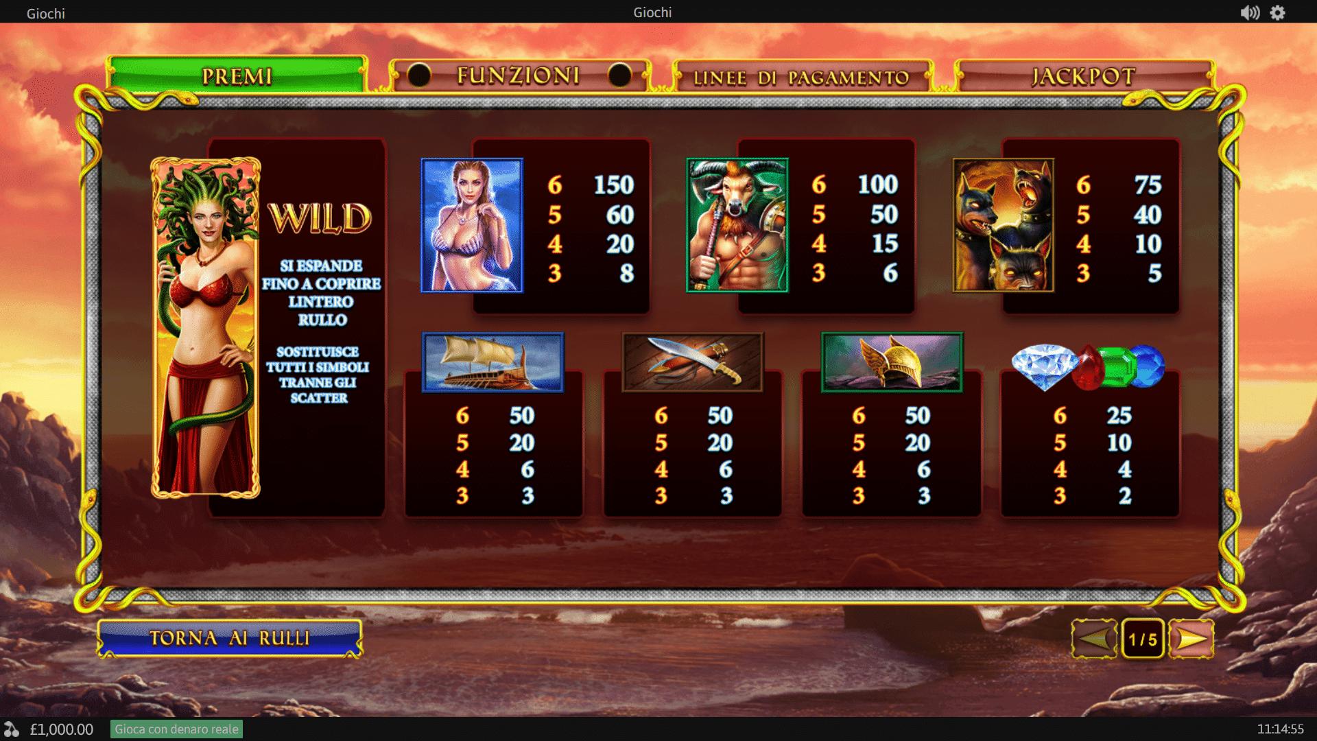 Paytable della Slot gratis Age of the Gods Medusa & Monsters