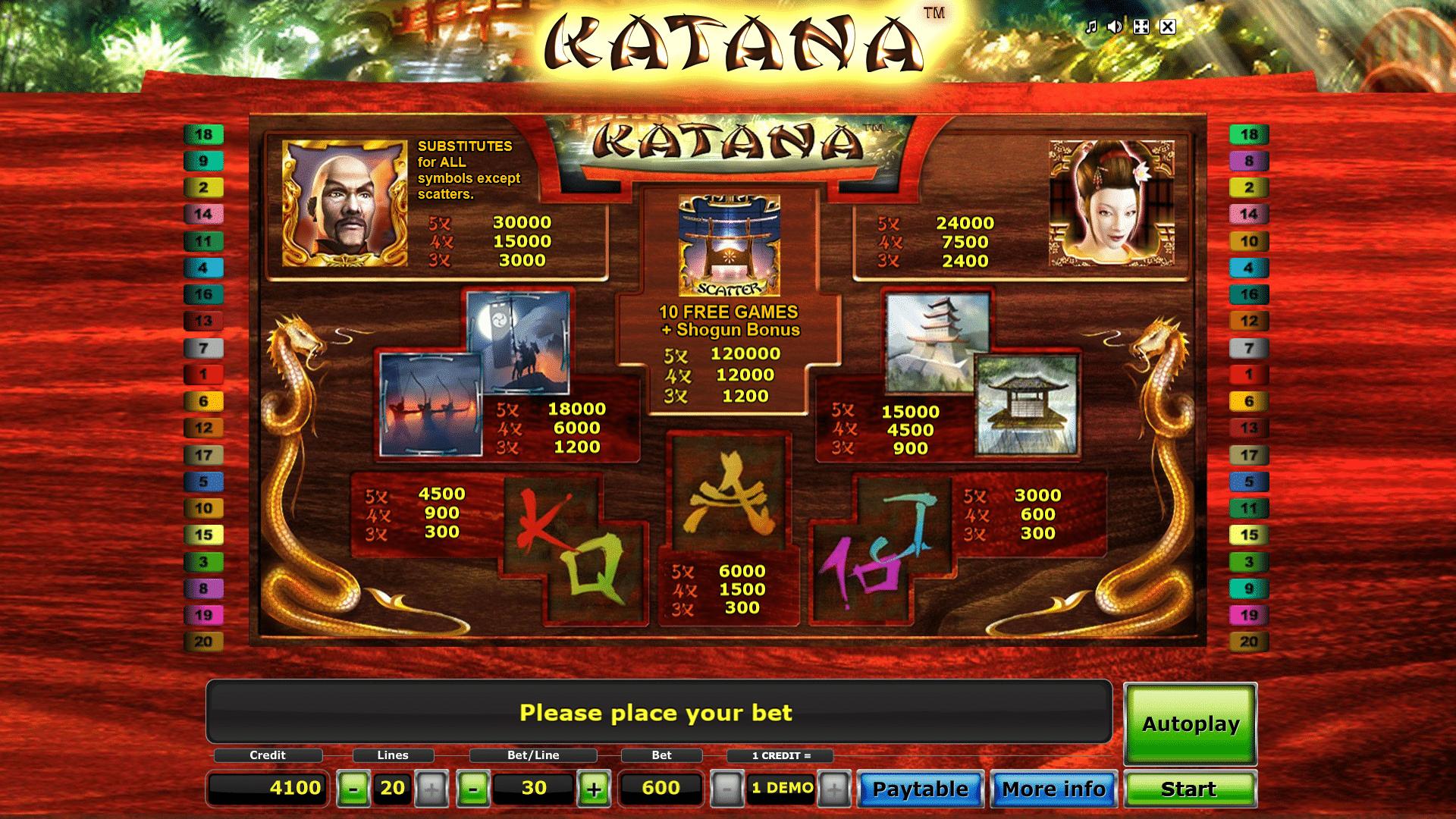 Pagamenti della Slot gratis Katana