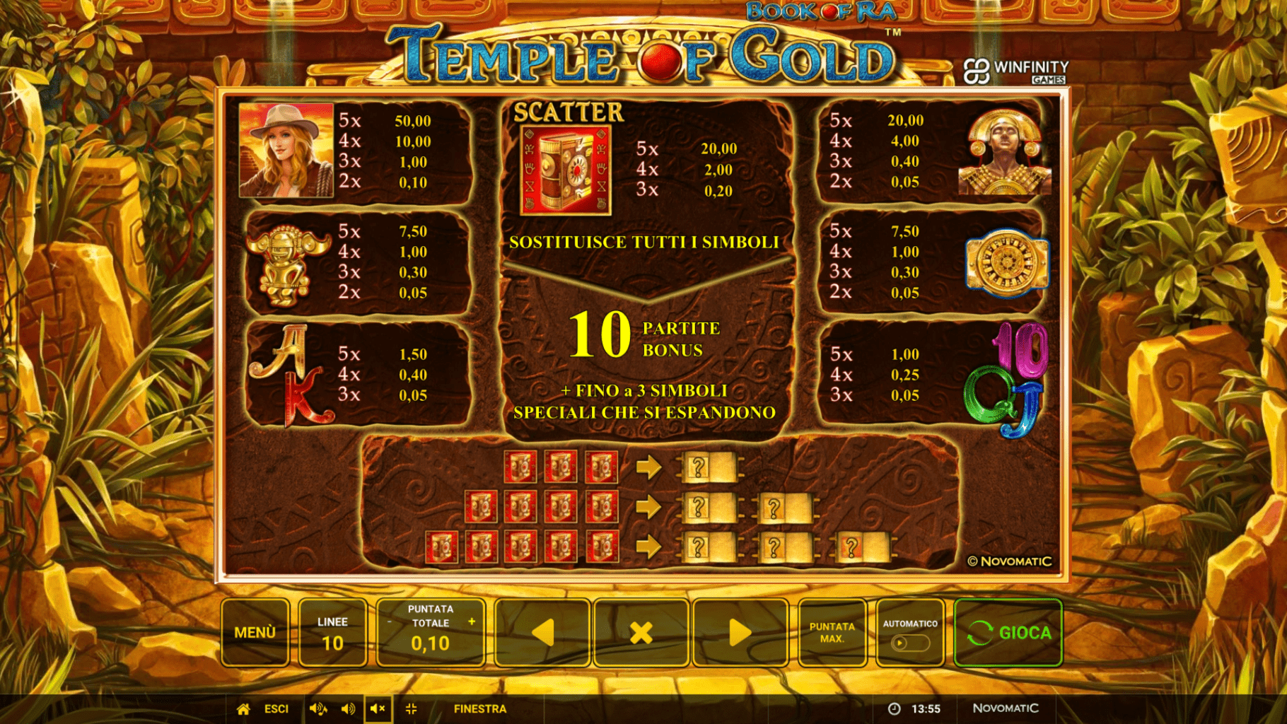 Paytable della Slot gratis Book Of Ra Temple Of Gold