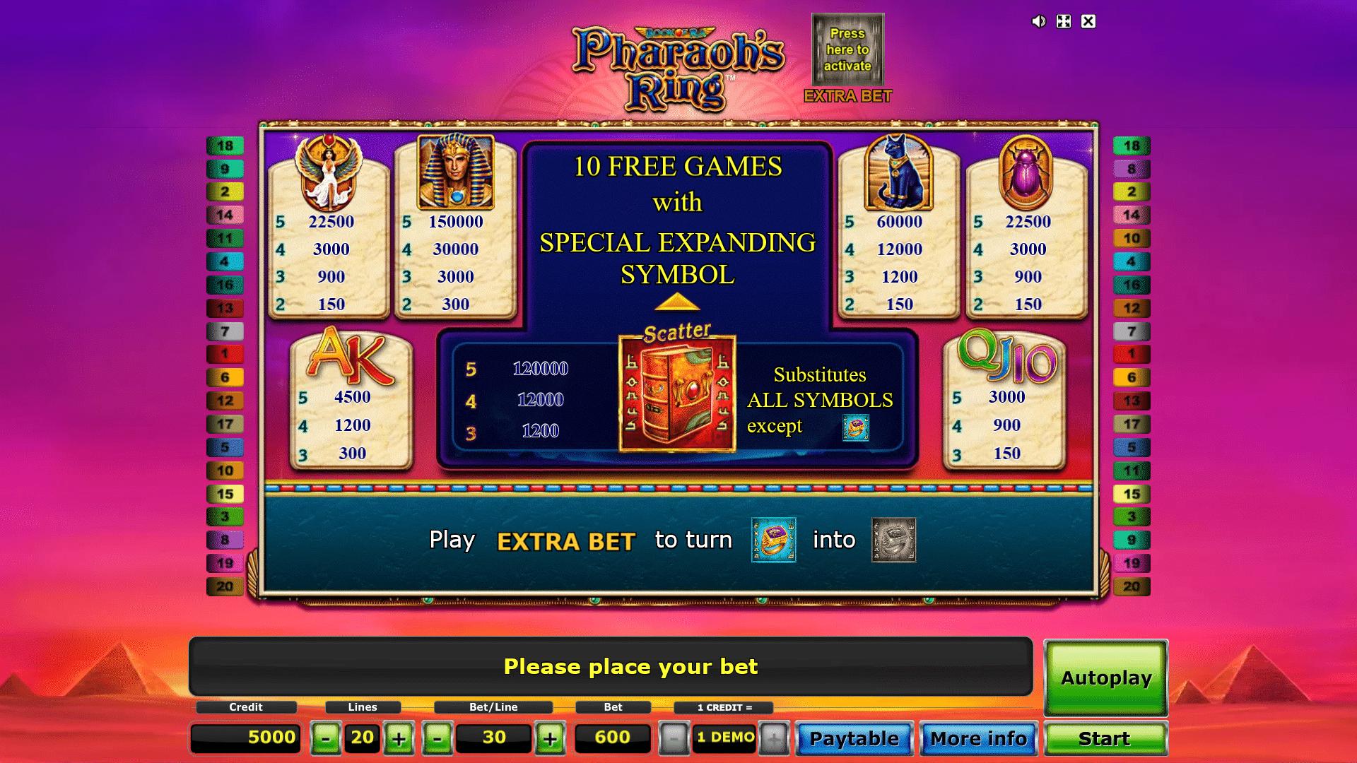Tabella Pagamenti della Slot gratis Book Of Ra Pharaoh's Ring