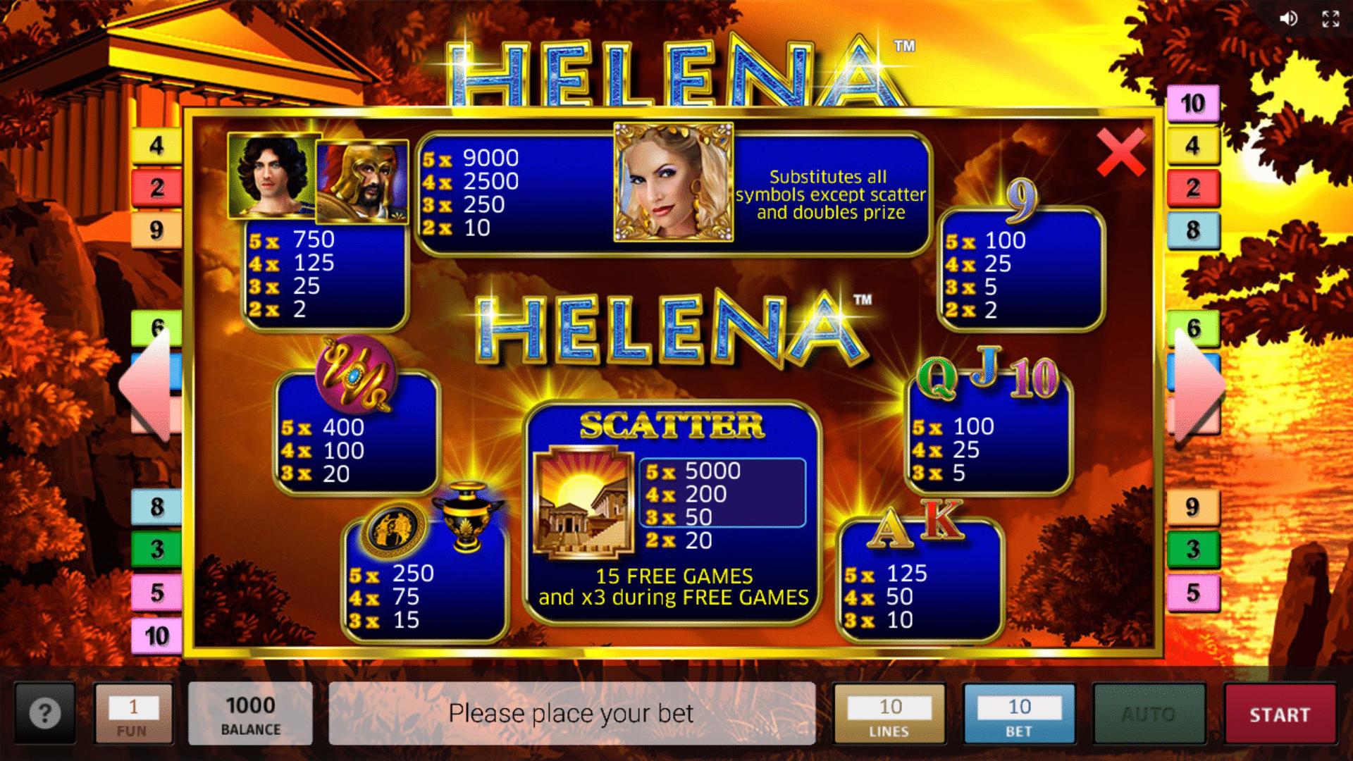 Paytable Slot gratis Helena