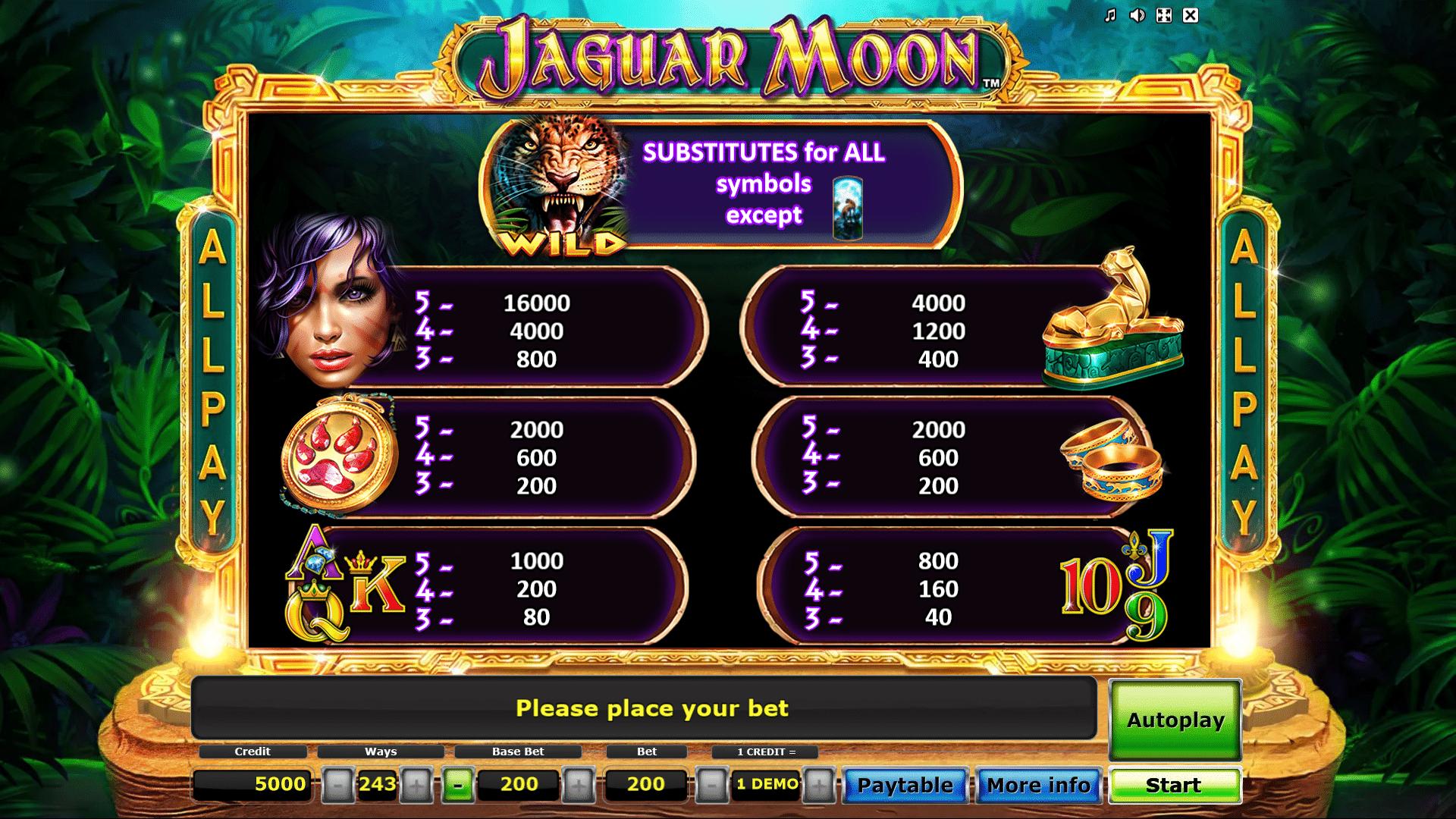 Tabella dei Pagamenti della Slot gratis Jaguar Moon