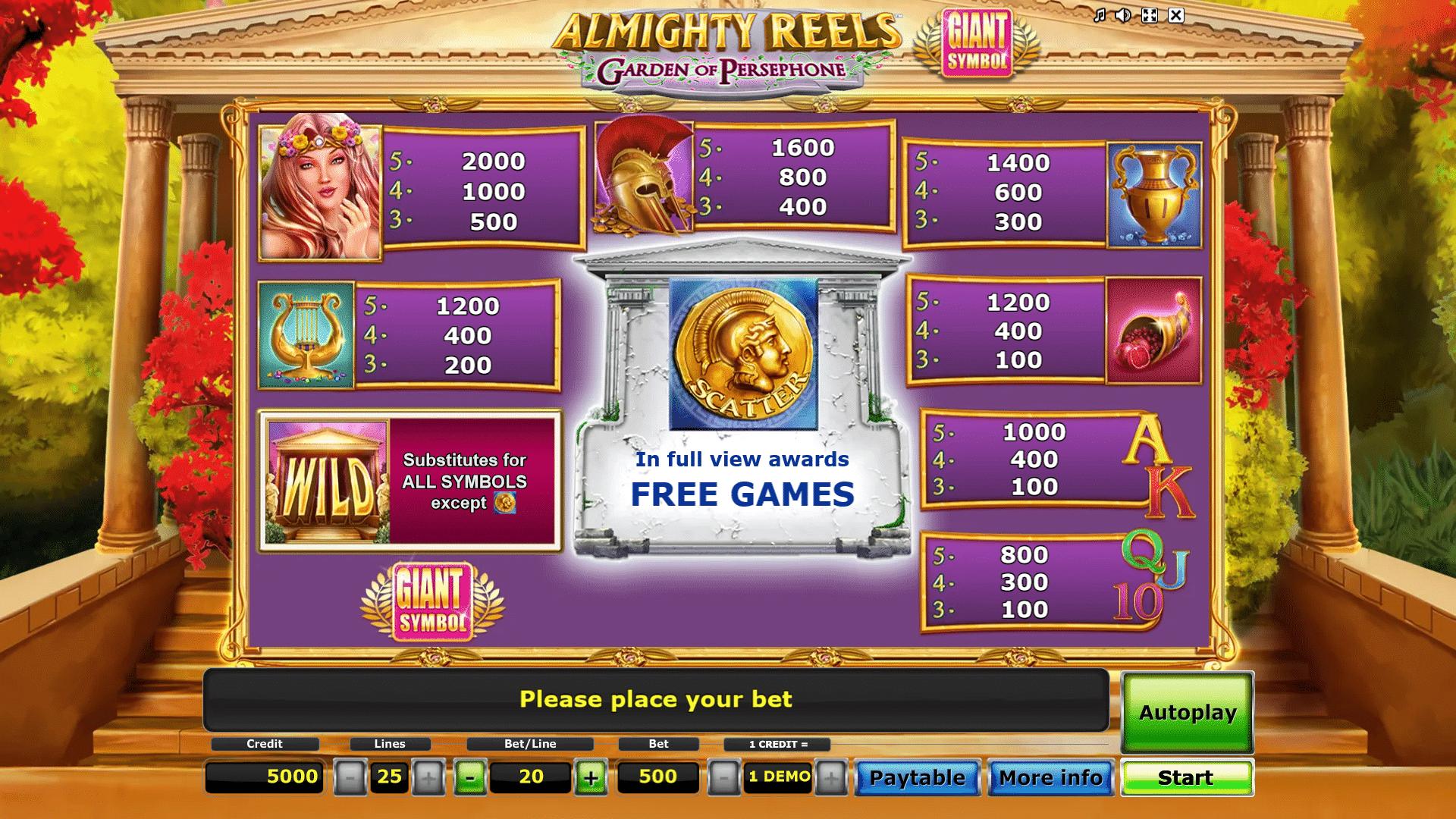 Paytable Slot gratis Almighty Reels Garden of Persephone