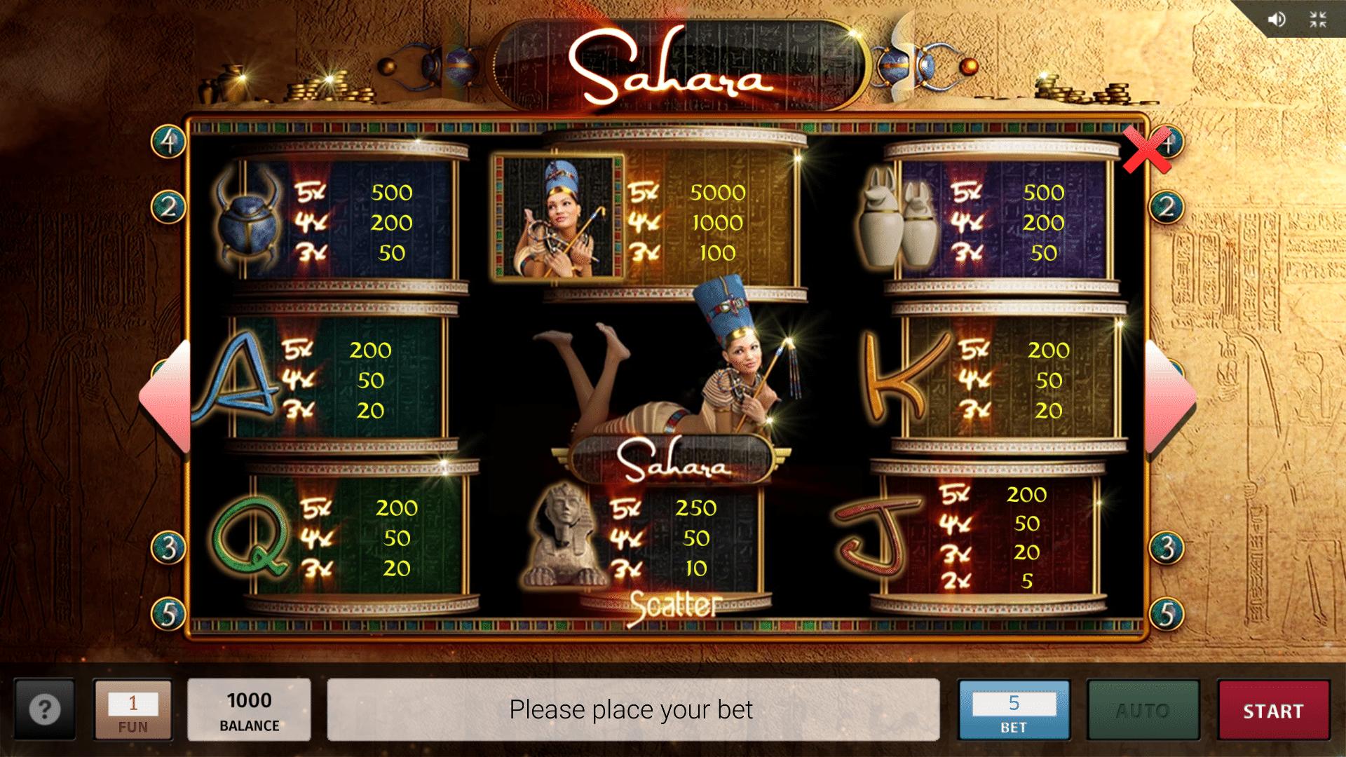 Tabella Pagamenti della Slot gratis Sahara