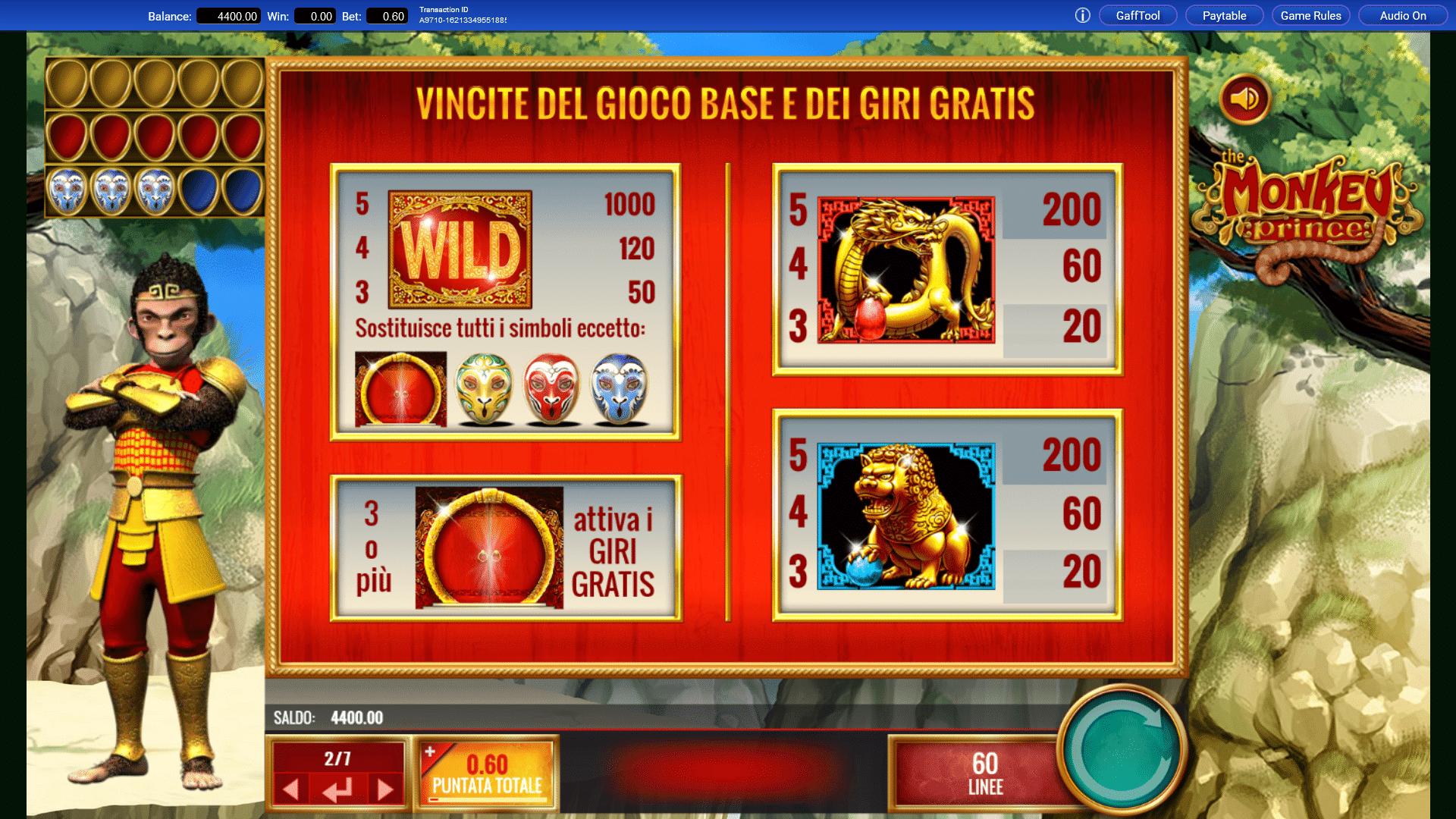 Paytable della Slot gratis The Monkey Prince