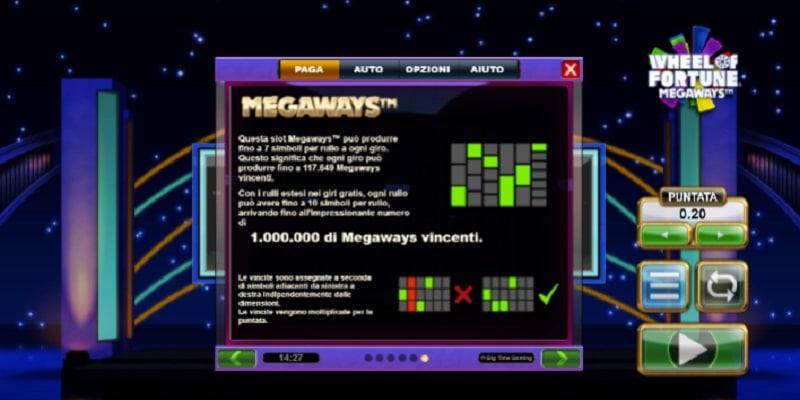 Tabella Pagamenti della Slot gratis Wheel of Fortune Megaways