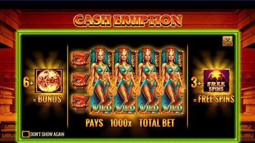 Paytable Slot gratis Cash Eruption