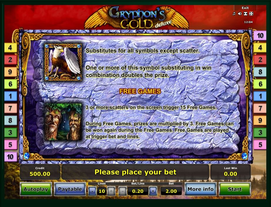 Paytable della Slot gratis Gryphon's Gold Deluxe