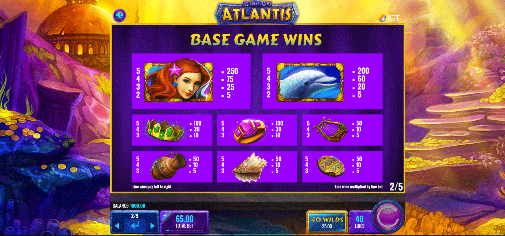 tabella dei pagamenti della slot online king of atlantis