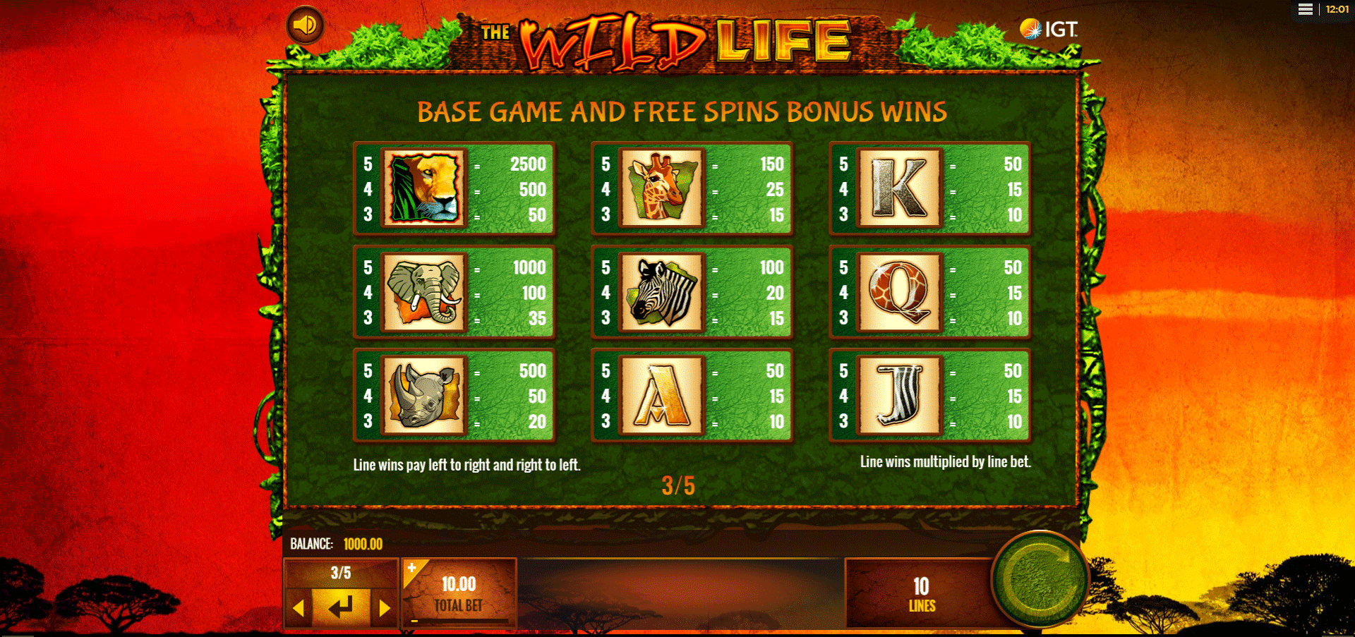 paytable slot online the wild life
