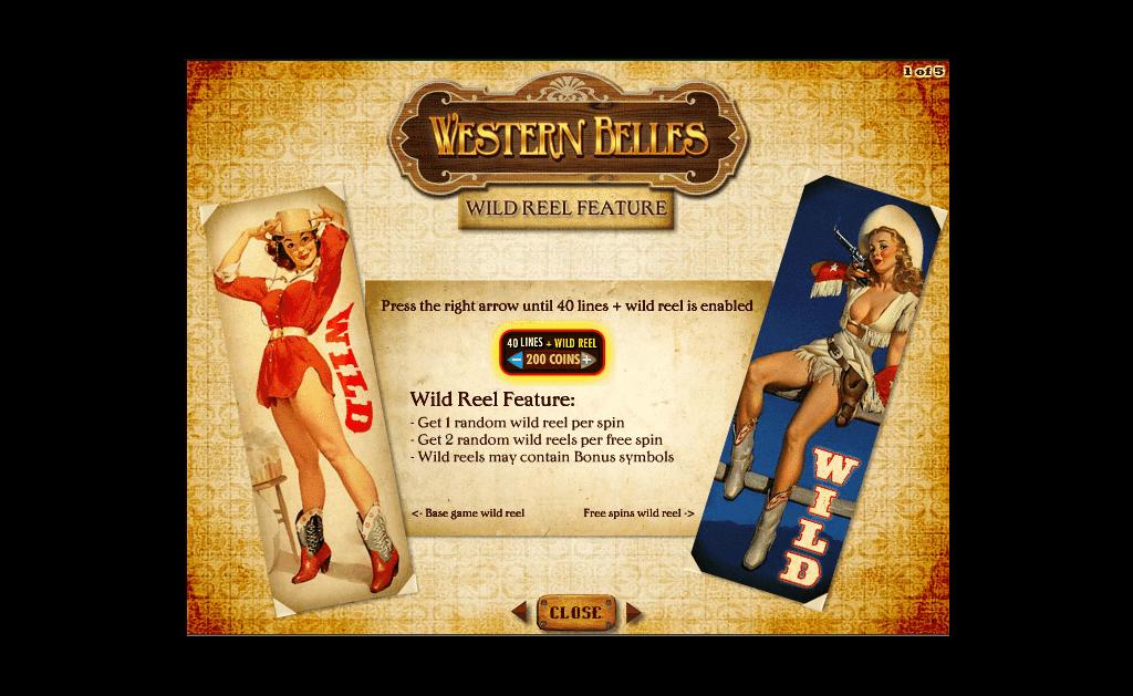 paytable slot machine western belles