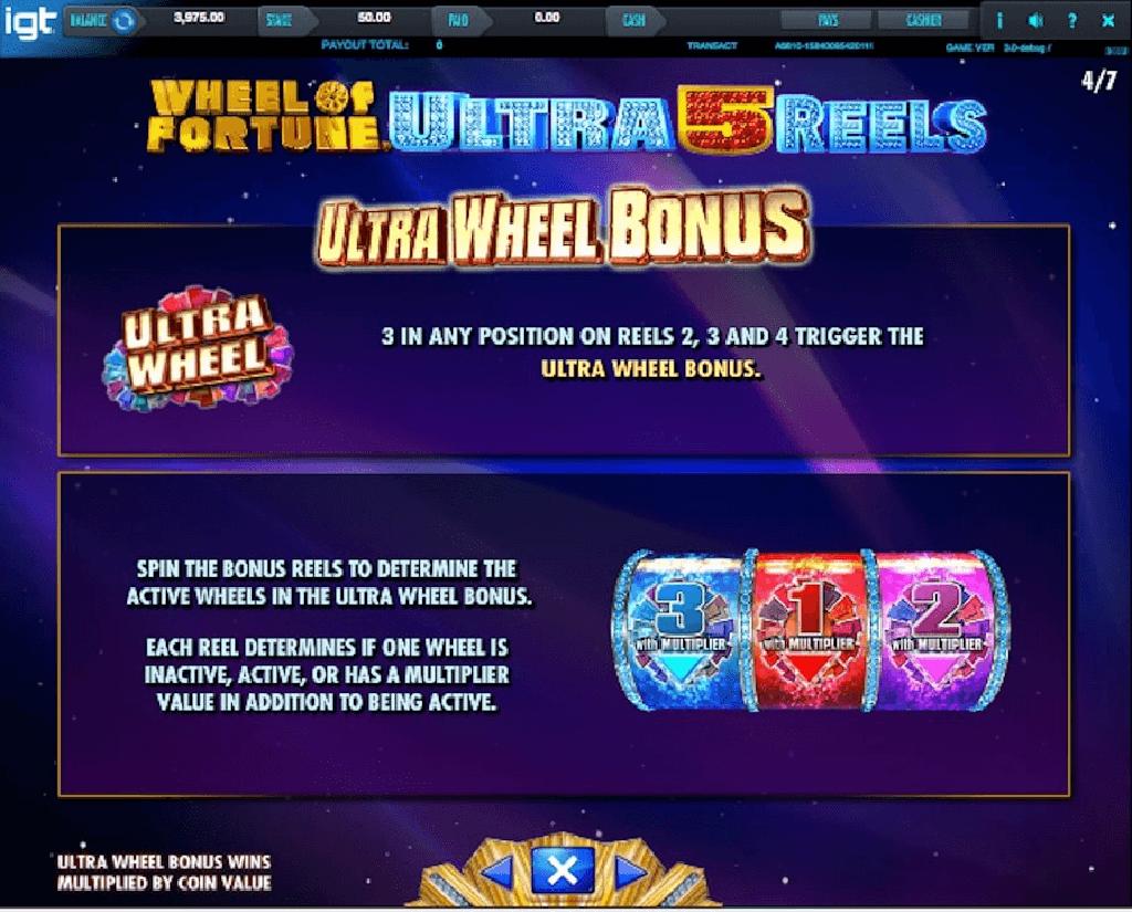 Tabella Pagamenti della Slot gratis Wheel of Fortune Ultra 5 Reels