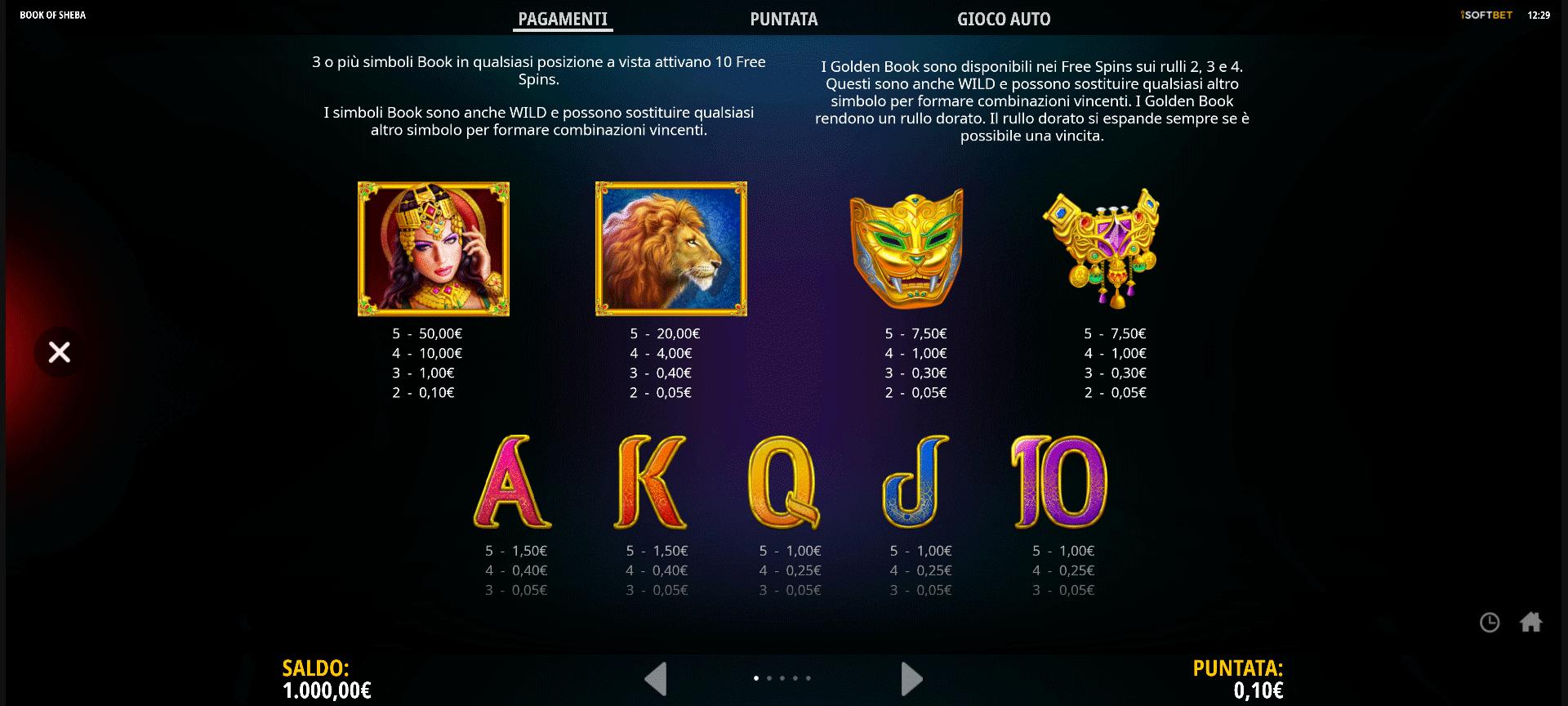 tabella dei pagamenti della slot online book of sheba
