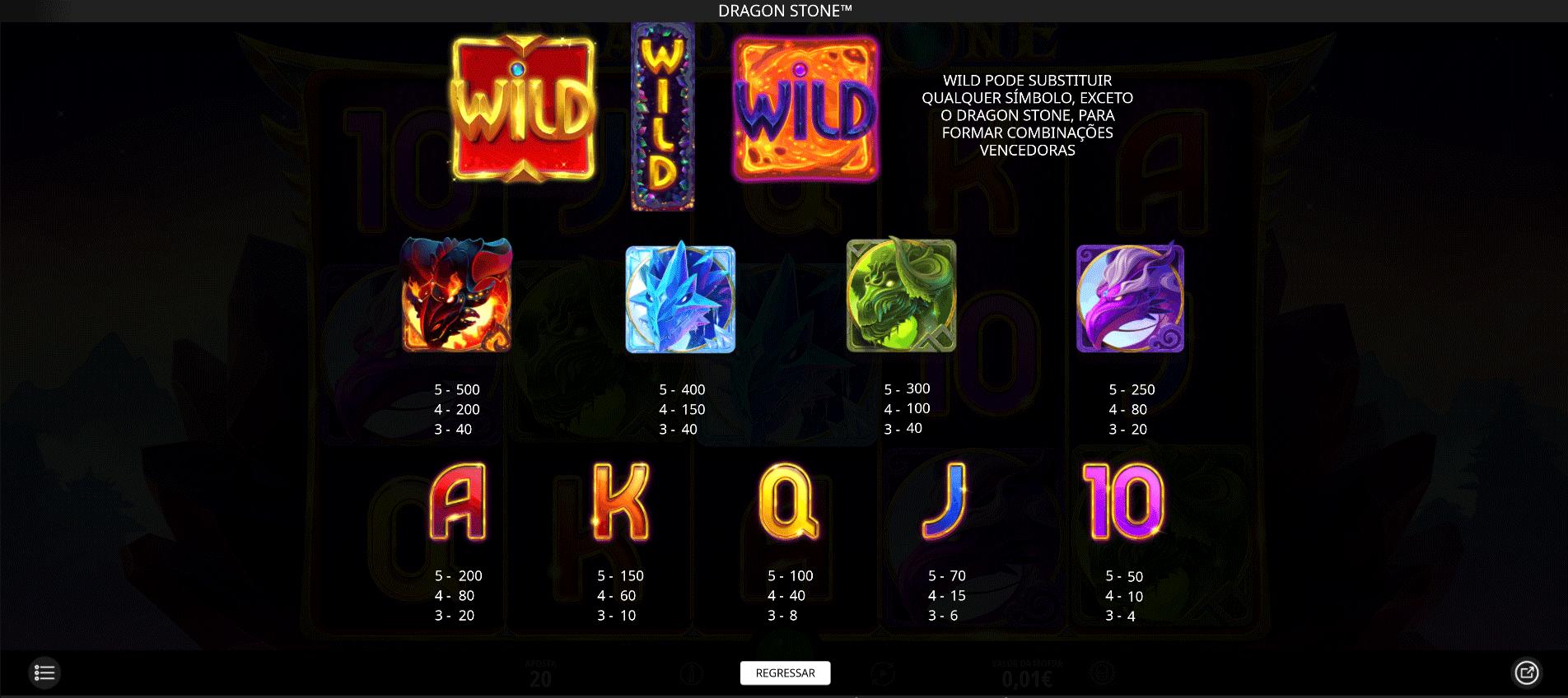 tabella dei pagamenti slot machine dragon stone