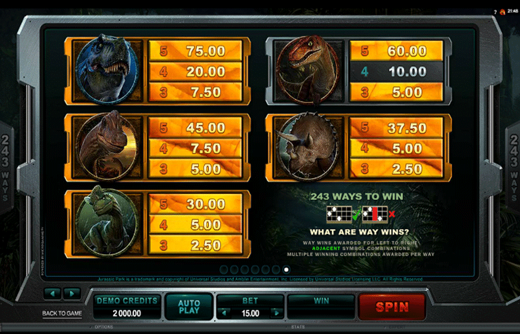 paytable della slot online jurassic park