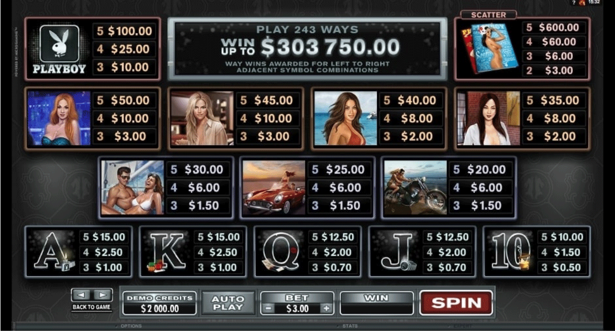 paytable slot machine playboy