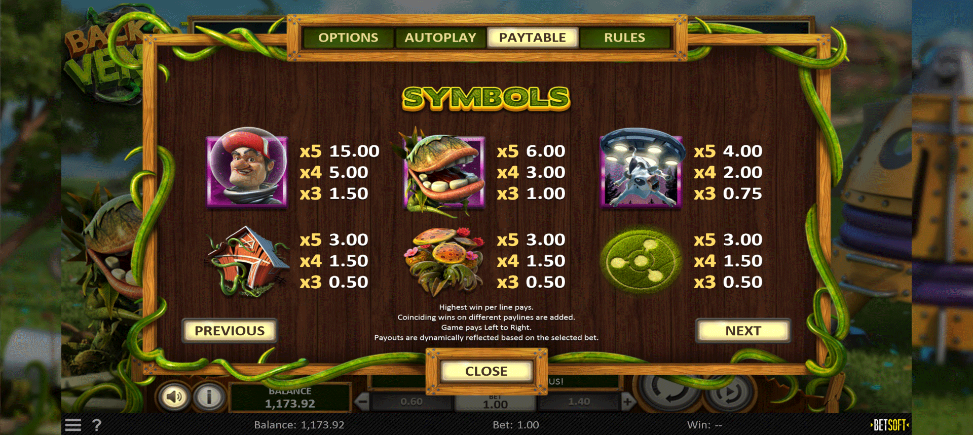 paytable slot online back to venus