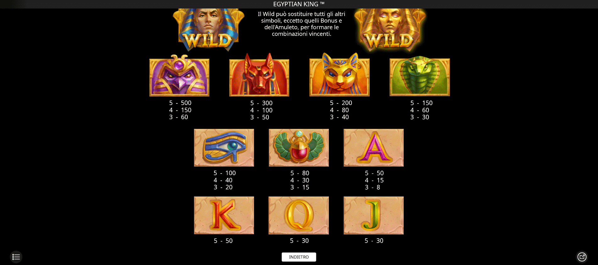 paytable slot machine egyptian king