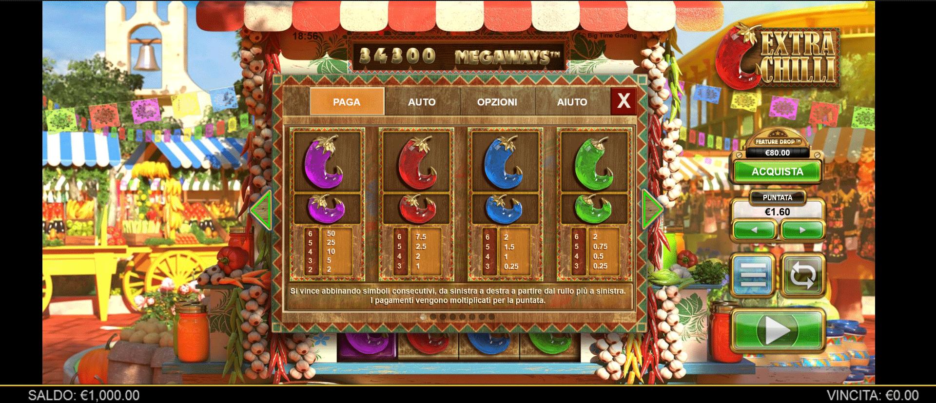 paytable slot machine extra chilli
