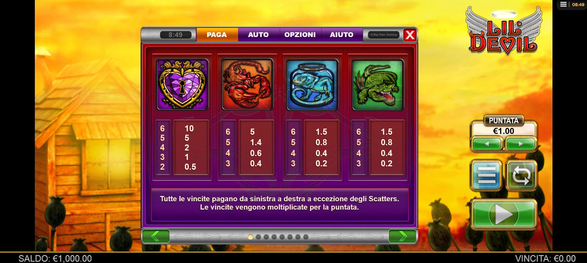 paytable slot machine lil devil
