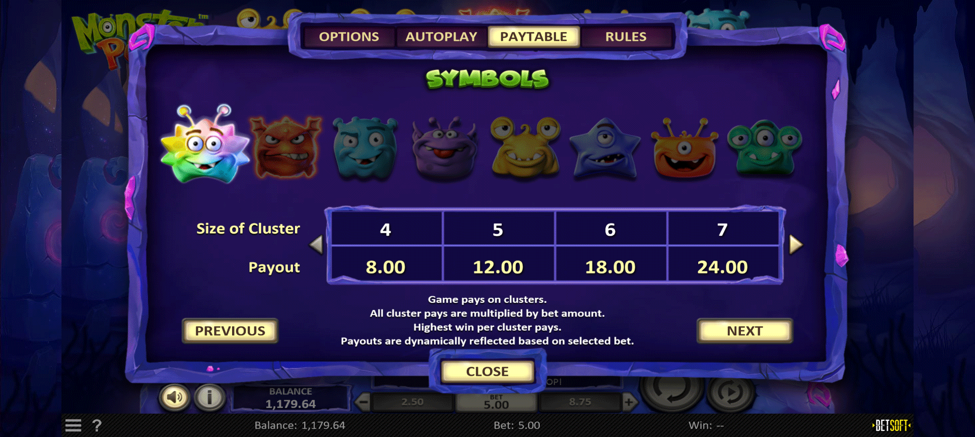 paytable della slot machine monster pop