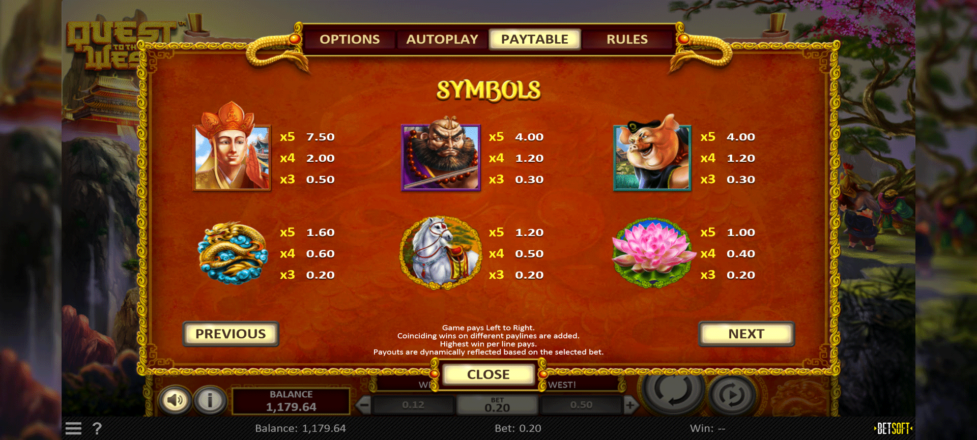 paytable slot machine quest to the west