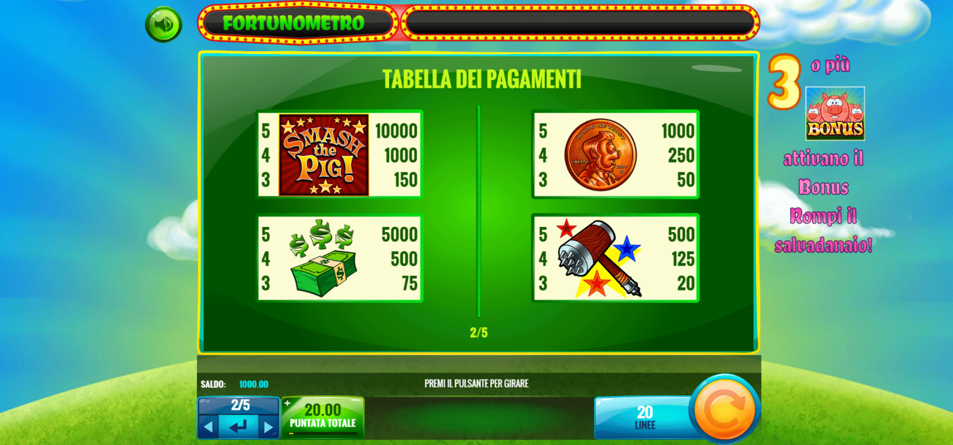 paytable della slot online smash the pig