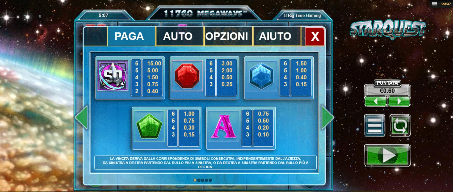 paytable della slot machine starquest