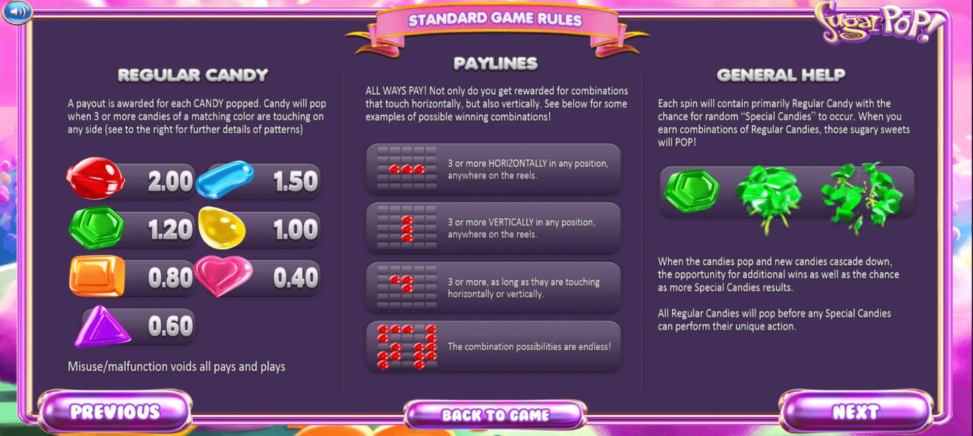 tabella dei pagamenti della slot machine sugarpop