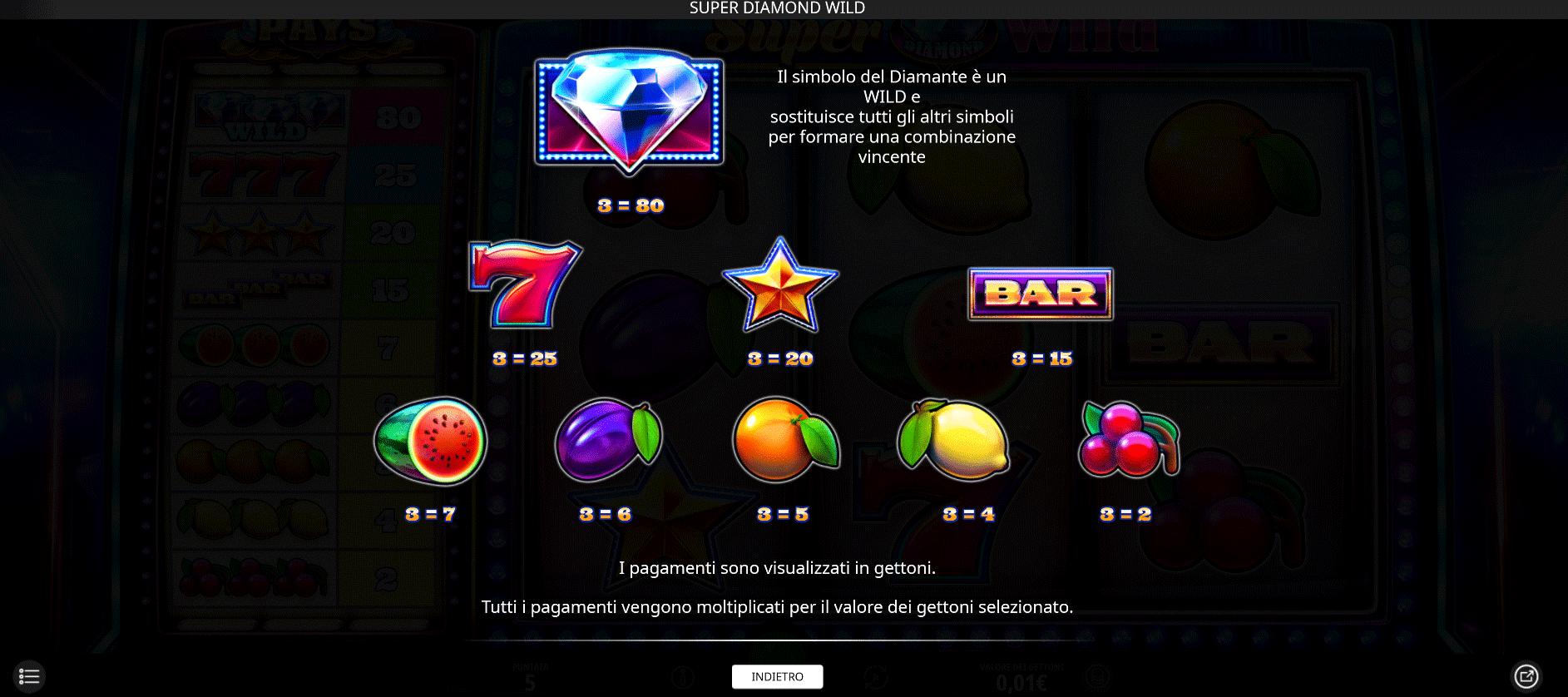 paytable slot online super diamond wild