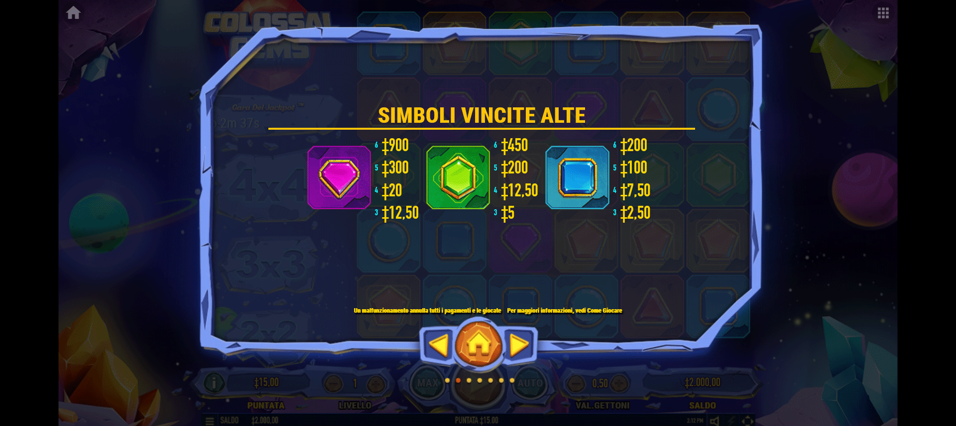 paytable della slot machine colossal gems