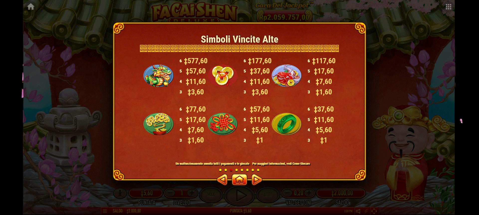 tabella dei pagamenti della slot online fa cai shen deluxe