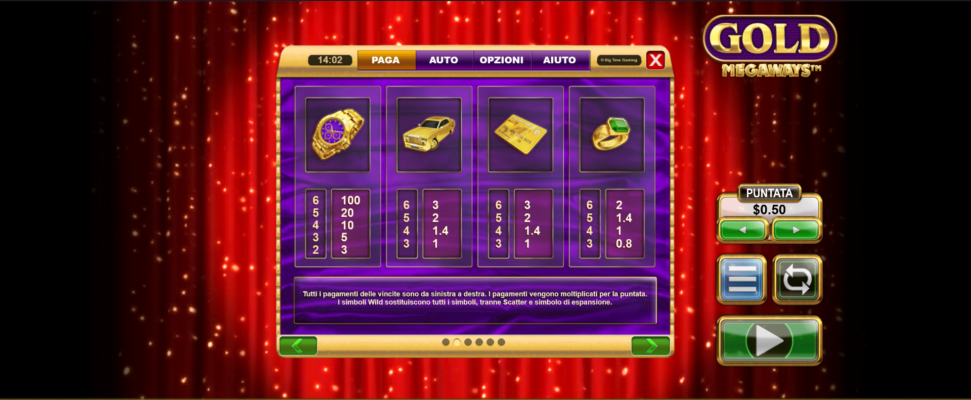 tabella dei pagamenti slot machine gold megaways