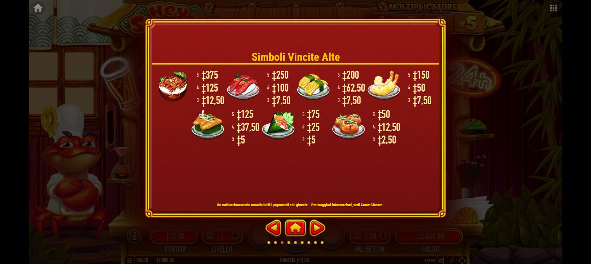 paytable slot machine hey sushi