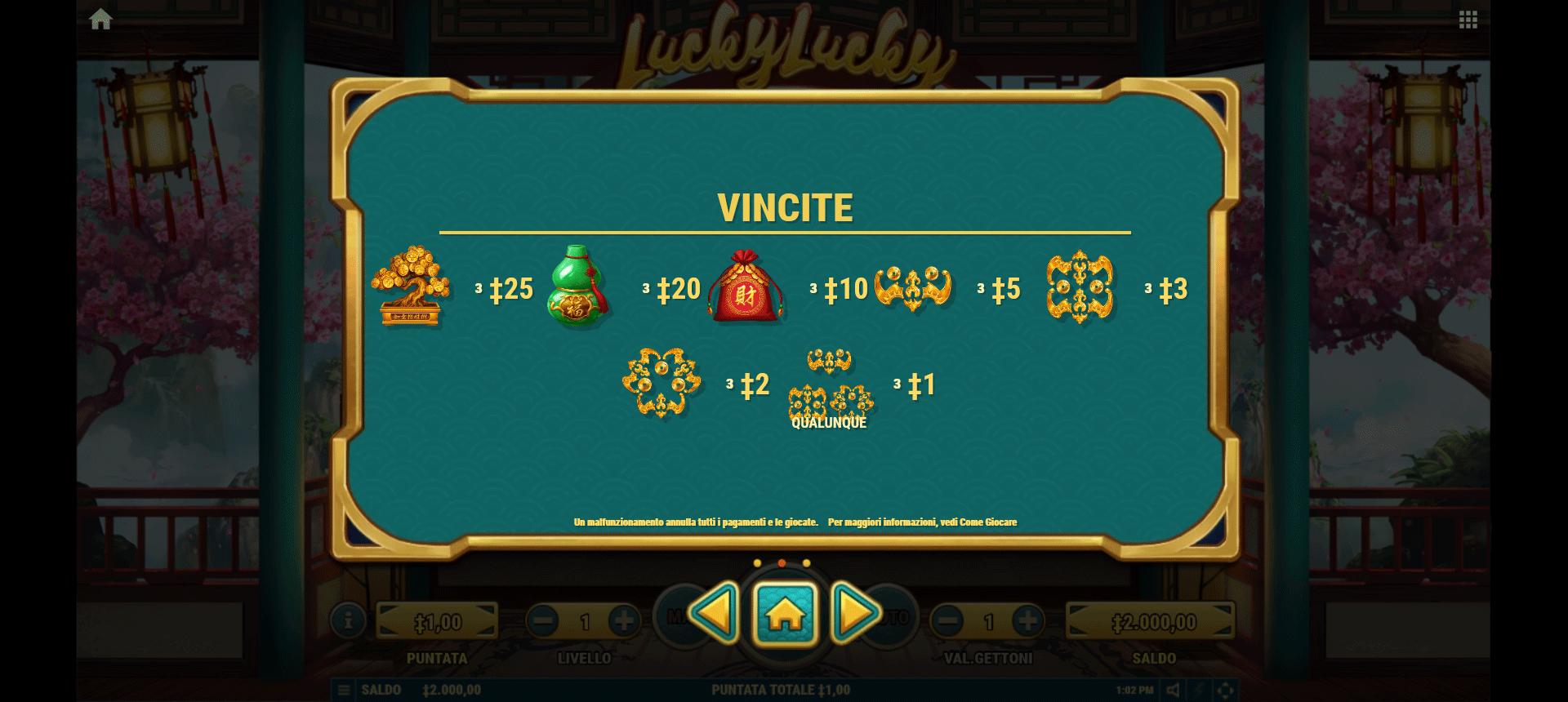 tabella dei simboli della slot online lucky lucky