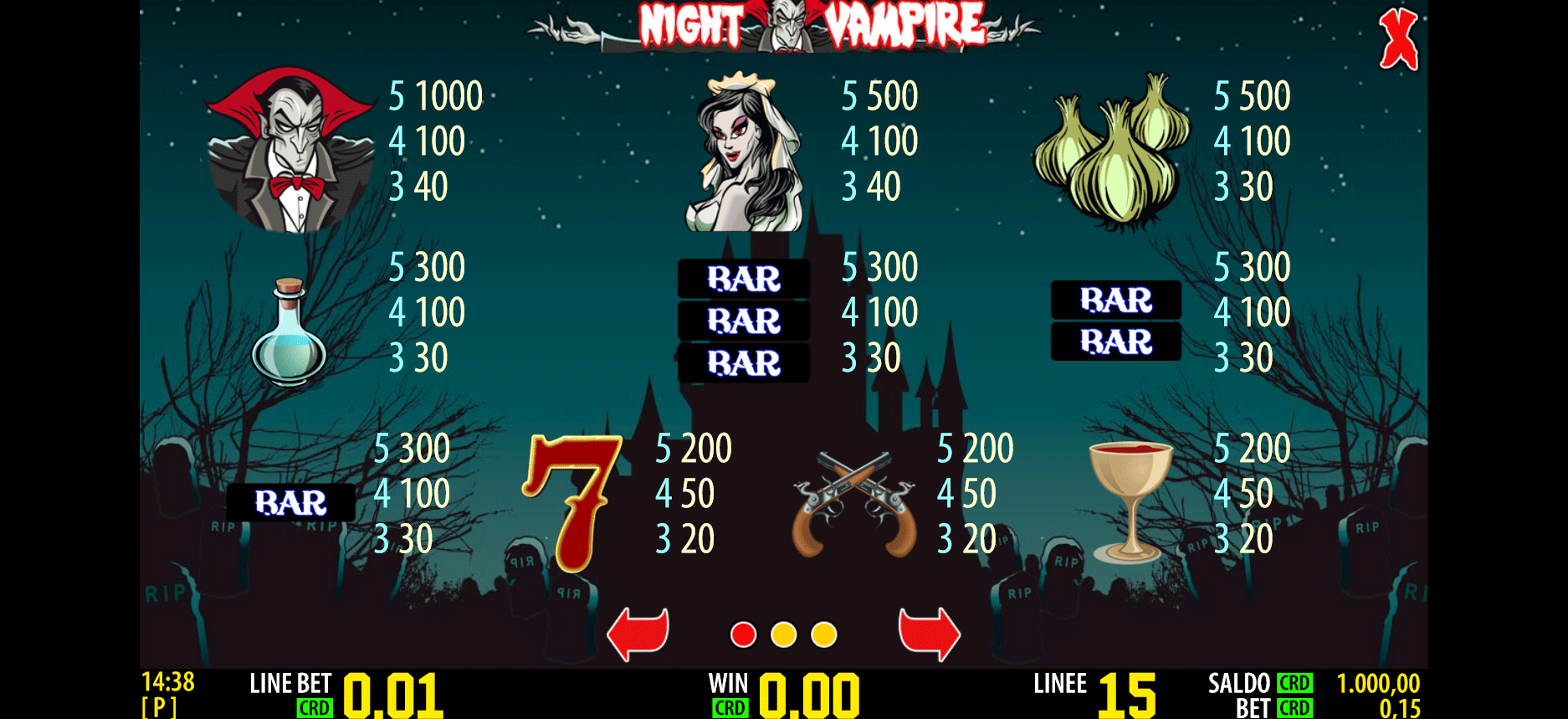 paytable della slot online night vampire hd